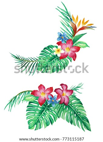 tropical leaves and flower arrangement, bouquets, watercolor illustration isolated white background for invitation, greeting cards, ornaments