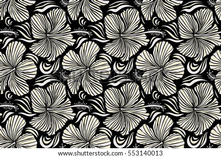 Tropical leaves and flowers seamless pattern. Hand painted illustration in neutral and beige colors on a black background.