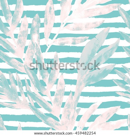 Tropical leaves and flowers seamless pattern on stripes background. Watercolor greens leaves of exotic monstera plant and palm tree. Hand paint swimwear pattern. Retro style illustration.