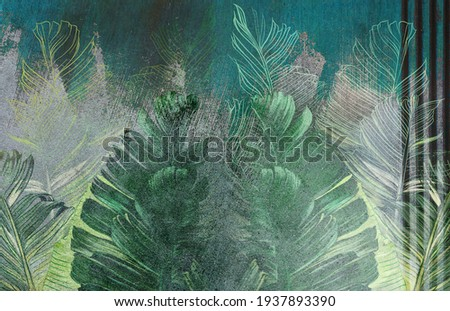 Tropical leaves on concrete grunge wall. Floral background. Great choice for wallpaper, photo wallpaper, mural, poster, card, postcard.