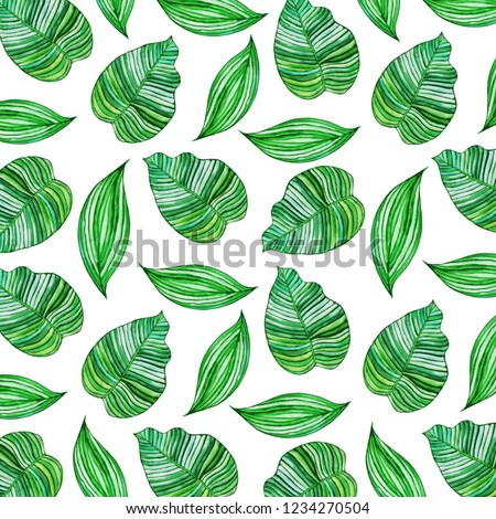 Tropical Leaves Pattern in Watercolor Style #1234270504