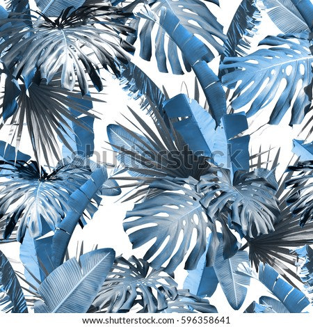 Tropical leaves pattern palm plants. Green leaf monstera seamless. Artistic photo collage for floral print. With soft focus effect #596358641