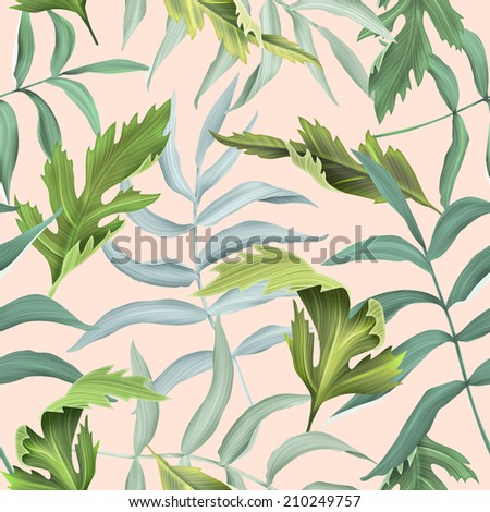 Tropical leaves seamless fashion pattern