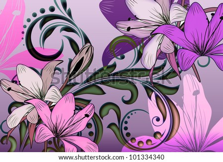 tropical lilly floral illustratration with illuminating color and glowing irridescent scroll leaf background.