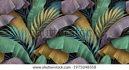 Tropical luxury exotic seamless pattern. Pastel colorful banana leaves, palm. Hand-drawn vintage 3D illustration. Dark glamorous background design. Good for wallpapers, tapestry,cloth, fabric printing