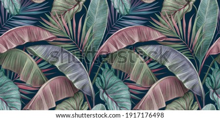 Tropical luxury exotic seamless pattern with pastel color banana leaves, palm, colocasia. Hand-drawn 3D illustration. Dark vintage glamorous design. Good for wallpapers, cloth, fabric printing, goods.