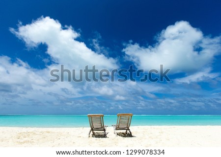 tropical Maldives island with white sandy beach and sea #1299078334
