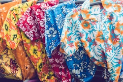 Tropical men shirts on display in the market.traditional clothing