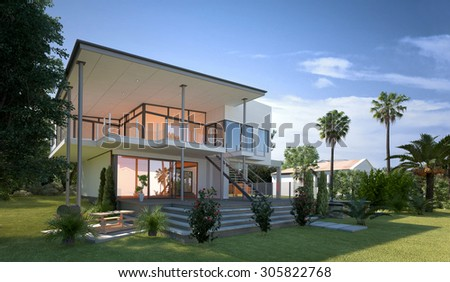 Tropical modern design villa view with garden and palm trees. Concept for a luxury lifestyle and richness. 3d Rendering.