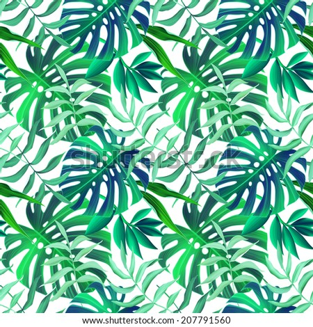 Tropical monstera and palm leaves seamless stylish fashion floral pattern in Hawaiian style