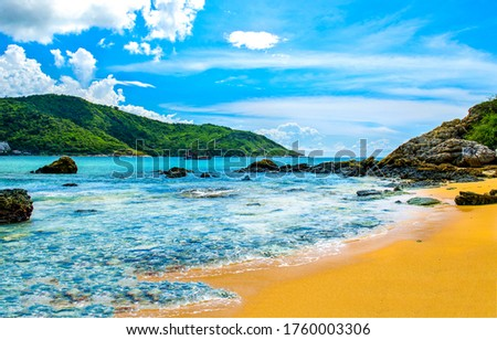 Tropical mountain sea beach landscape. Sea island sand beach view. Tropical sea sand beach landscape. Sand beach