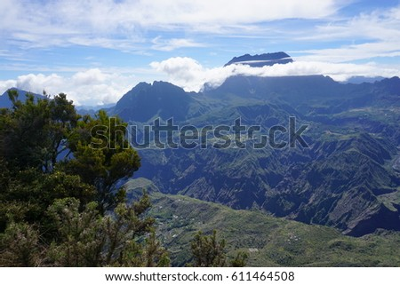Tropical mountains in the mist in La Reunion, France #611464508