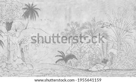 Tropical nature landscape, jungle with exotic tropical plants, flowers and leaves. Drawn jungle illustration. Design  for card, postcard, wallpaper, photo wallpaper, mural.