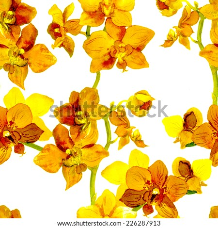 Tropical orchid flowers - exotic floral pattern. Repeating background. Water color.