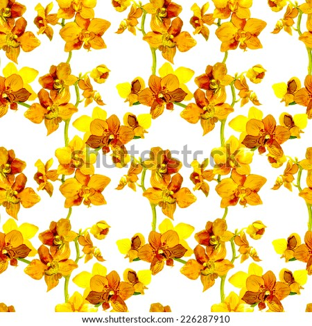 Tropical orchid flowers - exotic floral pattern. Repeating background. Water colour.