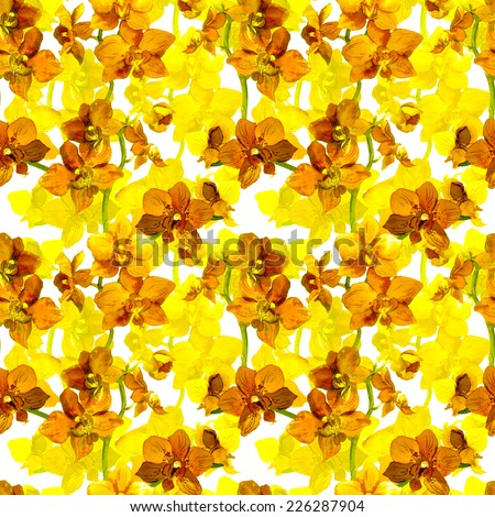 Tropical orchid flowers - exotic floral pattern. Repeating background. Watercolor.