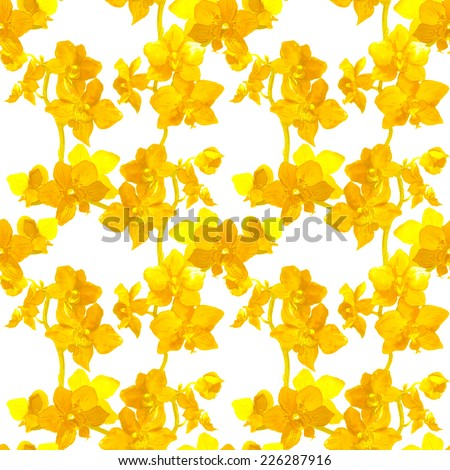 Tropical orchid flowers - exotic floral pattern. Repeating background. Watercolour.