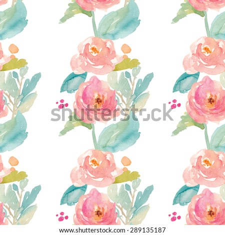 Tropical Painted Flowers Pattern. Colorful Watercolor Flowers Pattern Background