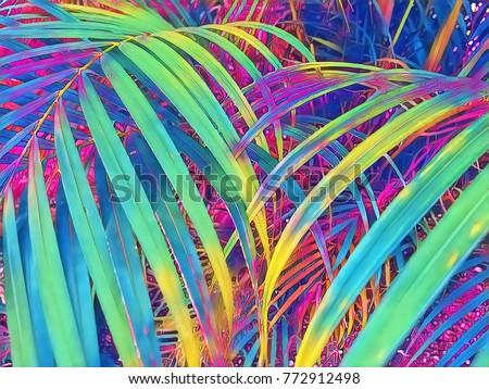 Tropical palm leaf texture background. Palm leaf digital illustration. Botanical ornament. Exotic leaf top view. Neon leaf background. Floral poster or banner template. Psychedelic tropical garden