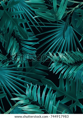 Tropical palm leaves. Seamless stylish fashion floral pattern, in Hawaiian style. jungle background