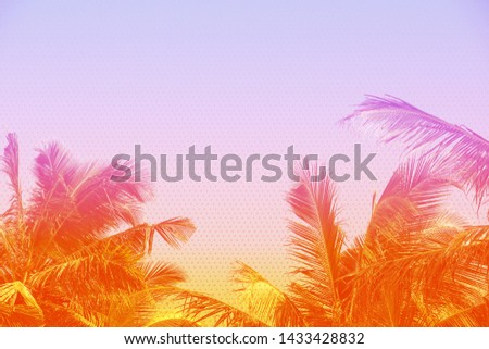 Tropical palm leaves vintage toned and stylized, halftone effect vibrant abstract background