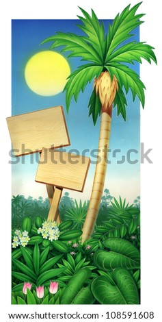 tropical palm tree and wood plaque with blue sky