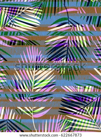 Tropical Palms with Stripes #622667873