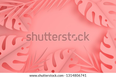 Tropical paper palm leaves frame. Summer tropical pastel colored leaf. Origami exotic hawaiian jungle foliage, summertime background. Paper cut. Minimal style. 3d render