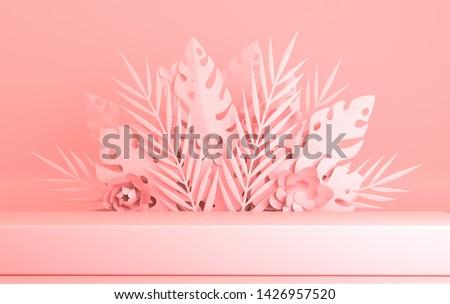 Tropical paper palm, monstera leaves and flowers frame, podium platform for product presentation. Summer tropical leaf. Origami exotic jungle, summertime background. Paper cut 3d render