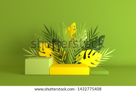 Tropical paper palm, monstera leaves and flowers frame, podium platform for product presentation. Summer tropical leaf. Origami exotic jungle, summertime background. Paper cut 3d render