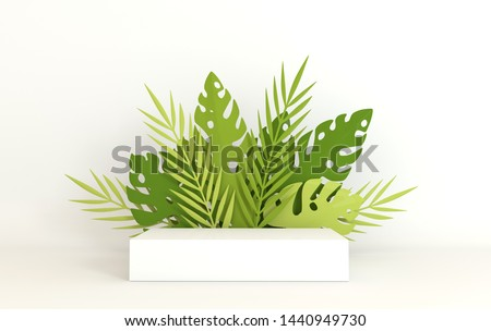 Tropical paper palm, monstera leaves frame, podium platform for product presentation. Summer tropical leaf. Origami exotic hawaiian jungle, summertime background. Paper cut 3d render