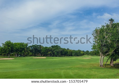 Tropical Paradise. Dominican Republic, Seychelles, Caribbean, a green tropical forest. Pathway in tropical park. Golf Course in Tropical Paradise. Summertime holyday in Dominican Republic