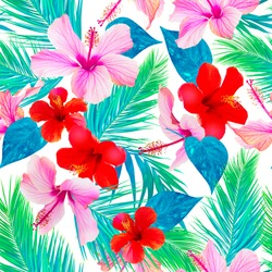 tropical pattern with hibiscus and palm leaves Realistic flowers and leaves in amazing colorful photo collage. Photo wallpaper, pink and red flowers, white background.