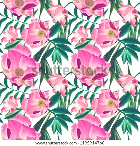 Tropical pattern with palm leaves and exotic flowers. seamless stylish fashion floral pattern, in Hawaiian style