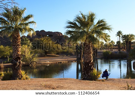 Tropical plants around a small pond at Papago Park near the Phoenix Zoo.