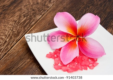 Tropical Plumeria with Aromatherapy Red Salt for spa and wellness concept