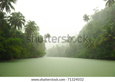 Tropical rain above river running through rainforest