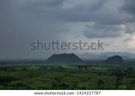 Tropical Rainforest Landscape in  the Southern Thailand, dark cloud, rainy season, lush trees and grasses.
