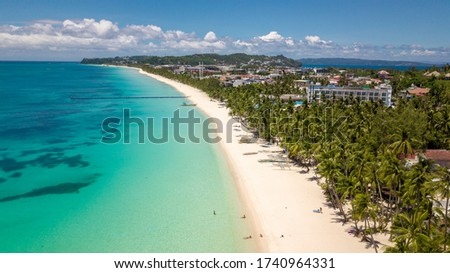 Photo of  Tropical Resort Island Boracay Philippines Covid Aqua blue Palm Tourism ocean Holidays Isolated paradise