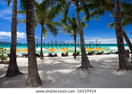 Tropical resort on perfect white sand beach in Boracay, Philippines