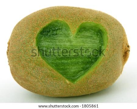 Tropical romantic love heart kiwi fruit, isolated, closeup