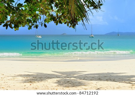 Tropical sand beach and moored yachts on Seychelles islands, Praslin, Anse Lazio