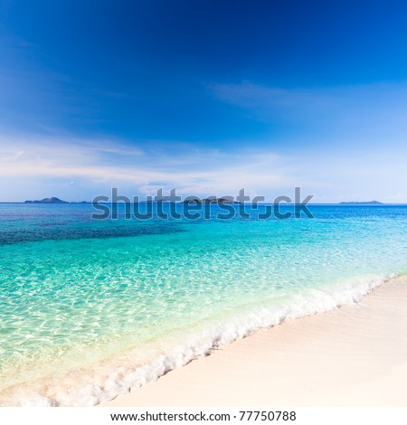 Tropical sandy beach Malcapuya at summer sunny day