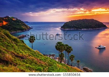 Tropical sea at beautiful sunset. Nature background