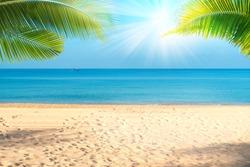 Tropical sea beach with sand, ocean, palm leaves and blue sky