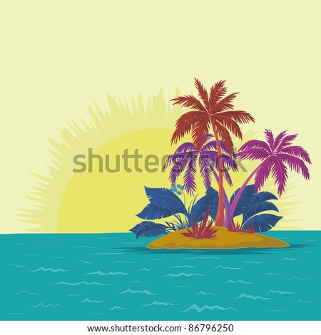 tropical sea island with palm trees and sun, abstract colors