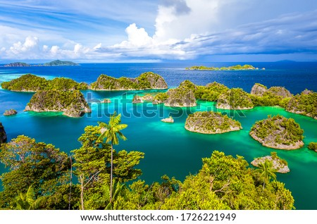 Tropical sea islands top view landscape