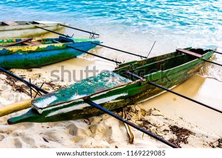 Tropical sea landscape , a little traditional boats, Papua New Guinea, nea Alotau