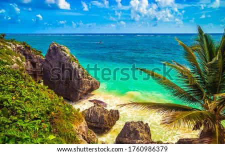 Tropical sea rocky beach landscape. Blue lagoon tropical sea rocks. Rocky beach tropical sea water