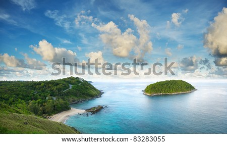 Tropical sea scenery. Panoramic composition in very high resolution.